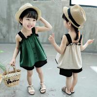 女童夏季套装宝宝吊带短裤两件套儿童套裙