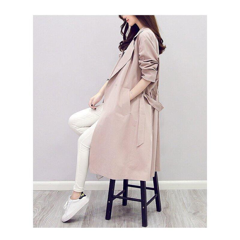 风衣女秋装新款韩版女装中长款翻领七分袖纯色风衣外套潮女 一般在付款后3-90天左右发货,具体发货时间请以与客服协商的时间为准