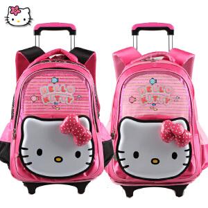 Hello Kitty 凯蒂猫小学生拉杆可拆卸带防雨罩女童卡通拉杆书包TR-HK3090