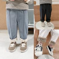 儿童冬装裤子加绒长裤男童羊羔毛休闲裤