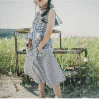 女大童夏装2018新款潮套装时髦洋气女童条纹公主上衣阔腿裤套