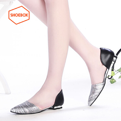 达芙妮旗下SHOEBOX/鞋柜性感侧空低跟单鞋女 尖头浅口套脚女鞋