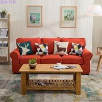美式沙发布艺组合乡村拆洗单布艺沙发双三人田园客厅小户型家