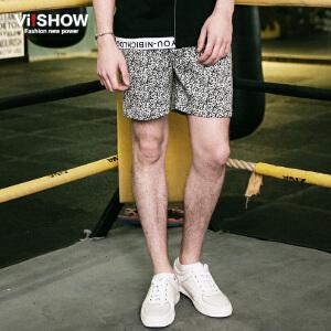 viishow夏装新款短裤 欧美时尚马赛克图案休闲短裤男 热裤潮