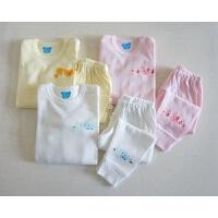 日式婴幼儿 肩开扣纯棉秋衣秋裤套装 A类内衣 男女童睡衣 0-6岁