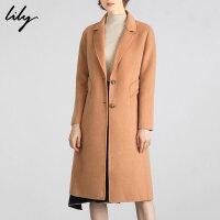 【3件2折 到手�r447】Lily女�b�p面呢羊毛�L款大衣西�b�I�_襟毛呢外套1E16