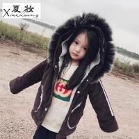 夏妆女童冬装新款童装韩版儿童中长款加厚毛呢大衣宝宝羊羔绒衣外套潮 咖啡色 灯芯绒毛领风衣