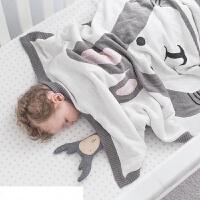 伊丝洁家纺2017秋冬款棉被子儿童宝宝双层毯兔子狐狸动物毯 午休盖毯床上用品 90cmX120cm