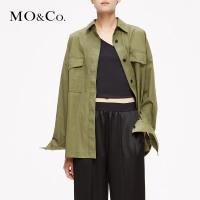 MOCO工装风衬衣刺绣衬衫女复古春装2019款女上衣MAI1SHT017摩安珂