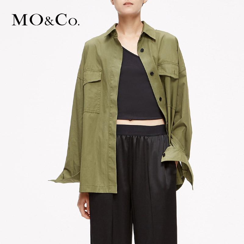 MOCO工装风衬衣刺绣衬衫女复古春装2019款女上衣MAI1SHT017摩安珂 满399包邮 樱花刺绣 工装衬衫