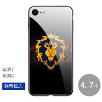 8plus/iphone6s手机壳魔兽世界苹果7玻璃镜面部落联盟全包保护套