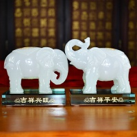 玉石大象摆件风水白玉大象摆件一对装饰品电视柜酒柜办公室摆设玉石工艺品