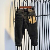 儿童装男童加绒裤子秋装加绒帅气牛仔休闲裤潮裤