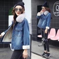 棉袄女短款秋冬2017新款韩版时尚大毛领大衣棉衣仿羊羔绒牛仔外套