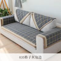 灰色北欧沙发垫亚麻老粗布沙发垫四季通用客厅棉麻沙发巾靠背巾垫