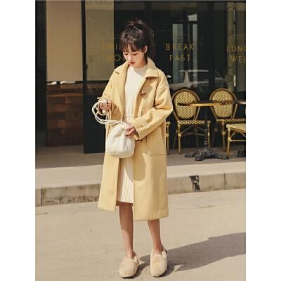 韩版直筒呢子大衣2019秋冬新款女反季纯色英伦学生中长款毛呢外套