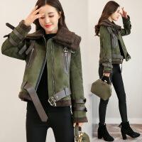 冬装新款外套女韩版短款长袖显瘦加厚夹克短外套时尚潮流女装 RJ1920军绿色