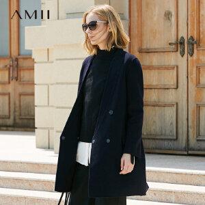 Amii[极简主义]撞色100%羊毛双面呢毛呢外套女2017冬季新翻领大衣