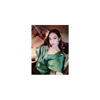 泰国潮牌夜店性感短款上衣女名媛范V领露背夸张袖收腰纯色吊带夏