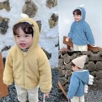 男童毛绒外套保暖上衣儿童时尚宽松连帽恐龙冬装潮
