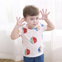 夏季男女宝宝苹果印花短袖T恤婴幼儿纯棉上衣