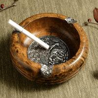 泰国手工雕刻做旧木头烟缸复古创意个性酒吧茶室木质实木烟灰缸