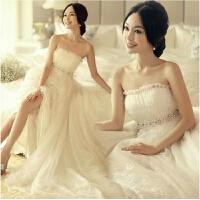 新款新娘婚纱礼服齐地婚纱韩版高腰孕妇婚纱拖尾韩版时尚大码 加大XX