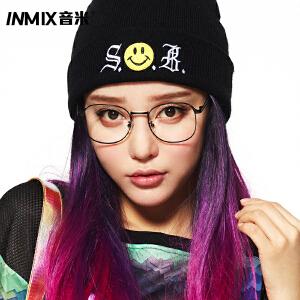 inmix音米大框圆脸女款眼镜框 装饰金属眼睛框架男复古近视眼镜架2440
