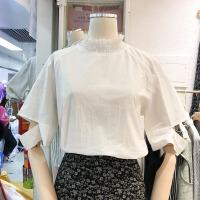韩国ulzzang2018春新款木耳边高领破洞五分袖衬衣女宽松白色衬衫