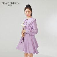 太平鸟紫色复古翻领连衣裙春装2020新款复古甜美收腰裙子女中长款