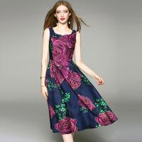欧洲站夏装高贵气质长裙大码无袖收腰大摆裙长款连衣裙 蓝色