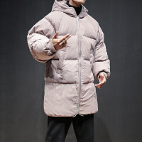 男士中长款冬装加厚连帽桃皮绒羽绒气质东北大衣加大码面包服