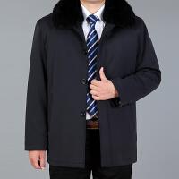 獭兔毛内胆中老年男装棉衣加厚中长款外套爸爸装毛领尼克服