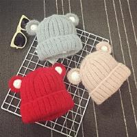 儿童毛线帽男女宝宝帽子冬天针织帽套头帽可爱保暖护耳加厚秋天潮