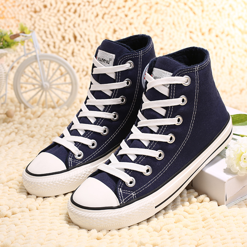 环球 高帮加绒保暖帆布鞋女冬季棉鞋休闲百搭学生板鞋