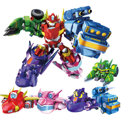 正义机车侠小心粗心五合体全套装变形机器人玩具开心超人联盟