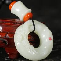 侯晓峰玉雕 新疆和田玉白玉节节高升扳指喜上眉梢手玩件125克