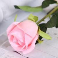 仿真玫瑰花套装花束假花玫瑰花客厅餐桌摆件花艺插花干花摆设装饰 雪山玫瑰 粉色(十支)