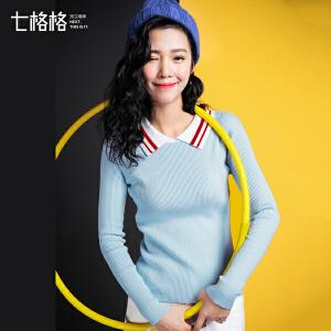 七格格polo上衣2017秋装新款韩版时尚套头修身显瘦学生长袖短款针织衫女