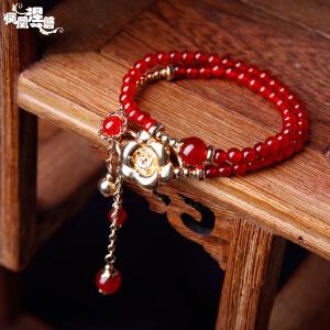 凤凰涅磐脚链女 复古天然红玛瑙水晶镀真金花脚链 民族风饰品礼物