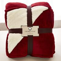家纺法兰绒纯色毛毯子双层加厚被子出口单人双人羊羔绒秋冬季盖毯 228cmx274cm 7.5斤