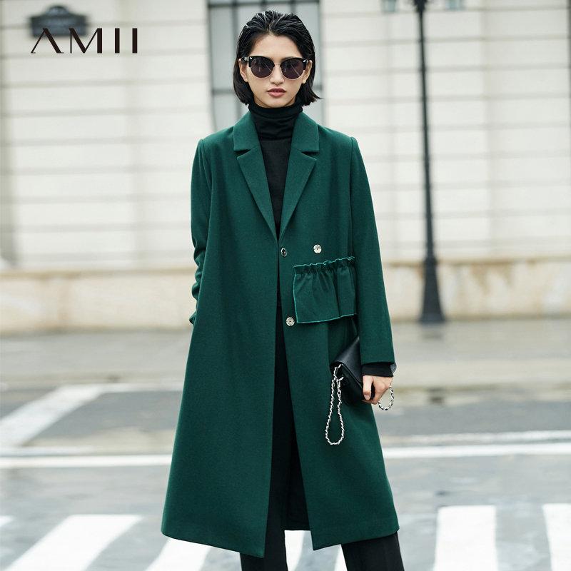 【大牌清仓 5折起】Amii[极简主义]帅气睿智 羊毛呢外套女 冬季翻驳领抽褶装饰大衣