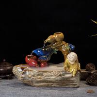 陶瓷�~缸流水�[件客�d家�b工�品福�童子加�耢F化器��泉盆