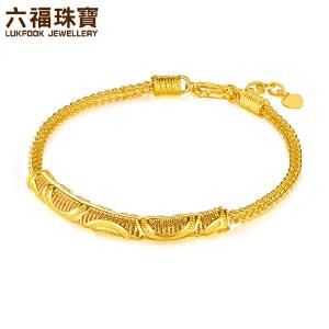 六福珠宝黄金手链女镂空龙骨链波浪纹足金手镯 L05TBGB0009