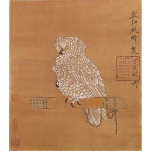 Y1641赵佶《御鹰图》(唐寅、文征明提边拔,并有多位名家收藏章。)
