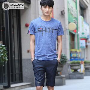 男士运动服套装短袖T恤+短裤休闲运动套装圆领套头短袖短裤夏季T恤大码