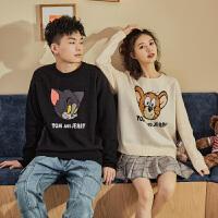 【新品价111.1元】猫和老鼠联名唐狮秋冬新款情侣卡通毛衣植绒圆领针织衫潮流