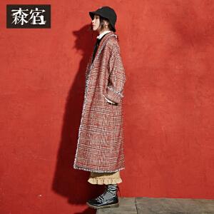 【尾品价383】森宿P划重点冬装新款复古长袖格子睡袍款翻领流苏毛呢外套女