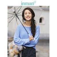 茵曼2018新款一字领净色百搭宽松长袖针织衫女【G1881302625】