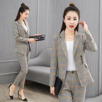 西装套装女2018春季新款韩版小香风九分裤休闲时尚格子西服二件套